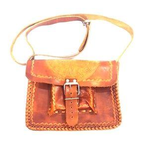 Vintage Tan Leather Tooled SUN Crossbody Bag Purse